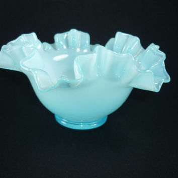 Fenton Blue Ruffled Cased Overlay Bowl or Candy Dish 1940s Vintage Glass