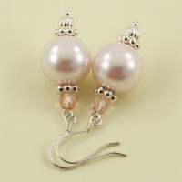 Bridal Earrings, Drop Earrings with Pearls and Silver Spacers, Maia Collection, Choose Your Color