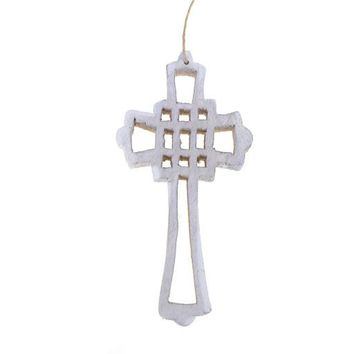 Hanging Wooden Distressed Cross Christmas Ornament, Rustic White, 5-1/2-Inch