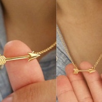 Stunning Small Arrow Necklaces / Choose color 18k Gold Silver Everyday Jewelry