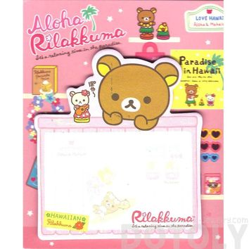 Aloha Rilakkuma Teddy Bear Shaped Hawaii Themed Adhesive Post-it Memo Pads
