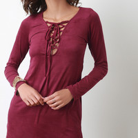 Vegan Suede Corset Lace Up Dress