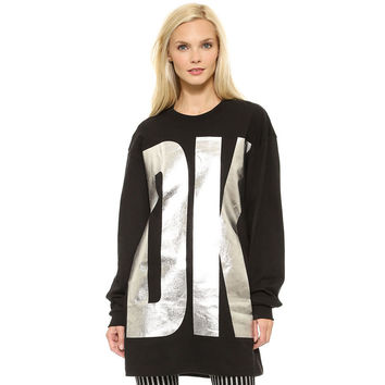 King Size Alphabet Silver Print Batwing Sleeve Sports Pullover Tops Hoodies [6407757956]