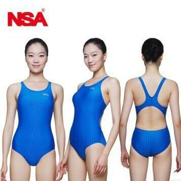 NSA professional one piece triangle competition training swimsuit waterproof chlorine resistant women's swimwear bathing suit