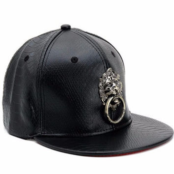 Men Women Faux Leather Baseball Hip-Hop Hat Adjustable Snapback Lion Bboy Cap