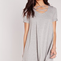 Missguided - Lattice Front Short Sleeve Swing Dress Grey