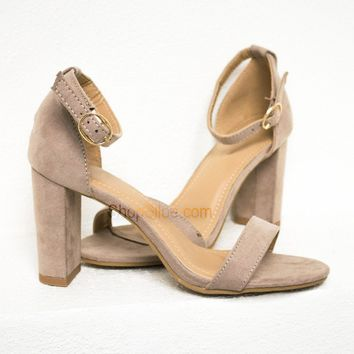 Classic Suede Heels   Taupe