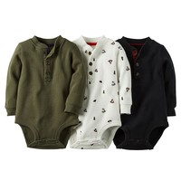 Carter's 3-pk. Christmas Thermal Henley Bodysuits - Baby Boy, Size: