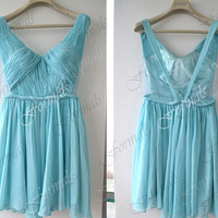 Mini Short Straps V neck Chiffon Blue Short Prom Dresses, Cocktail Dresses, Formal Gown, Evening Gown, Homecoming Dresses