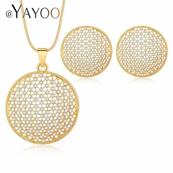 AYAYOO Jewelry Sets For Women Gold Color African Beads Jewelry Set Wedding Dubai Jewellery Statement Earrings And Necklace Set
