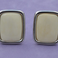Giant Cream Ivory Square Rectangle Clip-On Earrings Unworn Vintage 1980s Bone DIY Earrings Chunky Jewelry