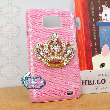 Studded Galaxy S2 Case Crown Samsung Galaxy Case Glitter Cell Phone Case i9100 Personalized Plastic Samsung Galaxy S2 Case Cover