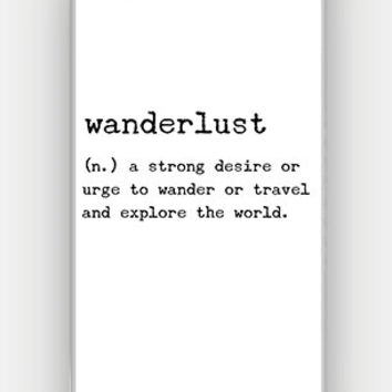 Wanderlust Definition - Typewriter Text - Full printed case for iPhone - by HeartOnMyFingers - CMB-312
