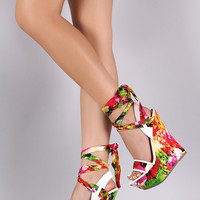 Bamboo Satin Watercolor Print Ankle Wrap Platform Wedge