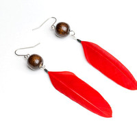 Red earrings Red feather earrings Red jewelry Bright earrings Eco jewelry Red dangle earrings Bright red Long red earrings Boho jewelry Gift