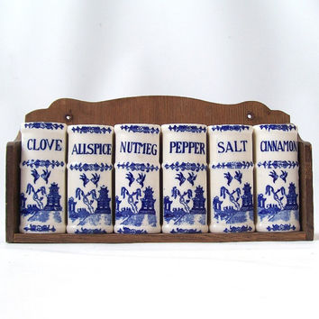 vintage delt blue spice rack ceramic salt and pepper shakers white book decorative home decor mid century retro serving entertaining cottage