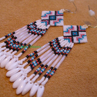 Native American Style brick stitched earrings in white,red,black and blue