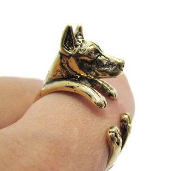3D Doberman Pinscher Dog Shaped Animal Wrap Ring in Shiny Gold | Sizes 5 to 9