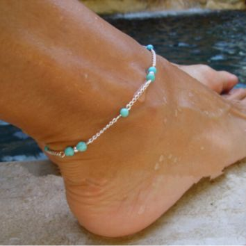 Personalized fashion all hand wear beads turquoise beads anklet