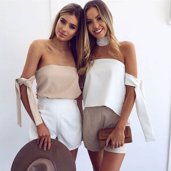 Fashion Solid Color Knotted Sleeve Bandage Sleeveless Off Shoulder Chiffon T-shirt Tops