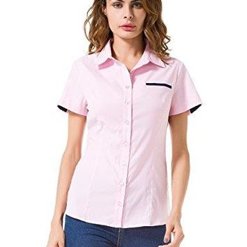 MOQUEEN Womens Button Down Basic Official Shirts Long Sleeve Simple Formal Blouse Tops