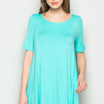 Mint Short Sleeve Pocket Swing Dress