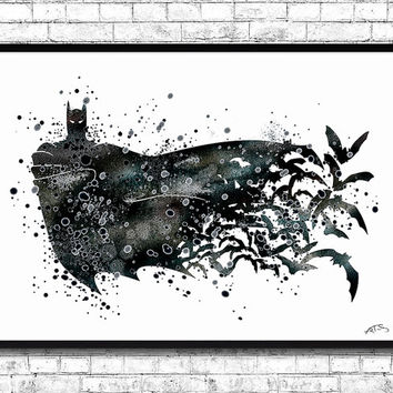 Batman BUY Any 2, GET 1 FREE! Watercolor Print, Batman print, Wall Hanging,Giclee wall, Super hero art,Movie poster,Illustration,Home Decor