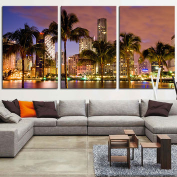 LARGE Art Canvas Print - Miami Beach Skyline Night Cityscape, Miami City Canvas Print, Miami Night Art Canvas Print, Unsleep City, MC127
