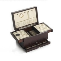 Wallace Dark Walnut Expandable Compartment Jewelry Box