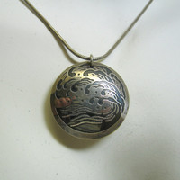 Modern Japanese Style WAVE Sterling Silver Pendant and Chain