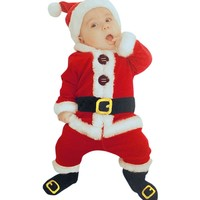 4PCS Christmas Santa Claus Costume Clothes Infant Baby Kids Boys Girls Long Sleeve Blouse Tops+Pants+Hat+Socks Outfit Sets
