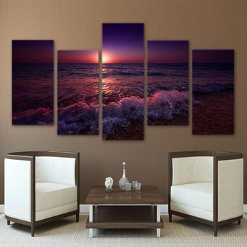 5 Panel Greece Ionian Sea Evening Sunset Sky Living Room Canvas Wall Art