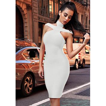 Keaton White Triangle-Cutouts Bandage Dress