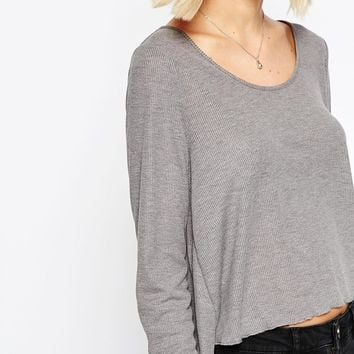 ASOS Swing Top In Slouchy Rib With Scoop Neck at asos.com