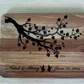 Wedding Gift for couple Wedding Cutting Board Love Initials Anniversary Gift for two Love Tree engraved gift for the couple
