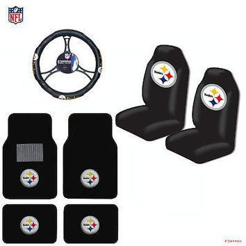 Licensed Official NFL Pittsburgh Steelers Car Truck Seat Covers Floor Mats Steering Wheel Cover