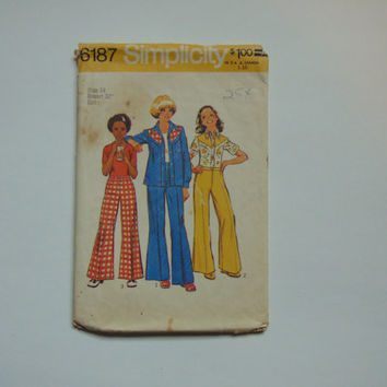 Simplicity Sewing Pattern 6187 Girls 70s Shirt & Bell Bottoms Size 14 Breast 32