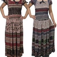 Wholesale Lot Of 2 Womens Peasant Sundress Off Shoulder Smocked Waist PRINTED LOVE Summer Maxi Dress