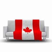 """Bruce Stanfield """"Flag of Canada"""" Red White Fleece Throw Blanket"""
