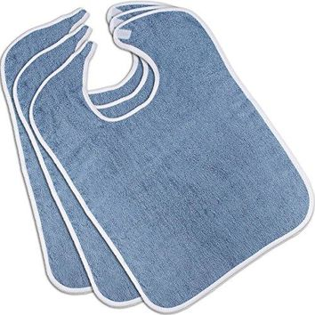 Cotton Terry Adult Bib (3-Pack, Blue, 18x30 inches) - Reusable - Machine Washable Patient Bibs