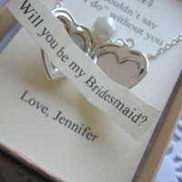 Heart locket, secret message, ask bridesmaids, Maid of Honor, Flower girl. Bridal party gift.