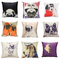 Animal Pattern Cushion Covers for Sofa Seat Cushion Covers Linen Cute Cushion Cover Textile Printing Throw Pillow Cover 45 * 45