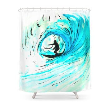 Society6 Lone Surfer On The Big Blue Shower Curtains