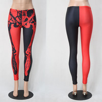 Halloween Red and Black  Rack Black Halloween Leggings [9214176458]
