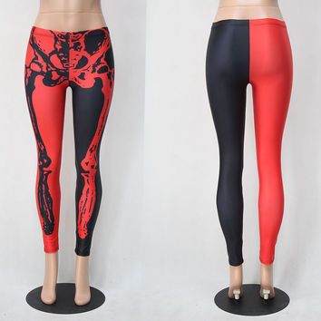 Halloween Red and Black  Rack Black Halloween Leggings [9030906308]