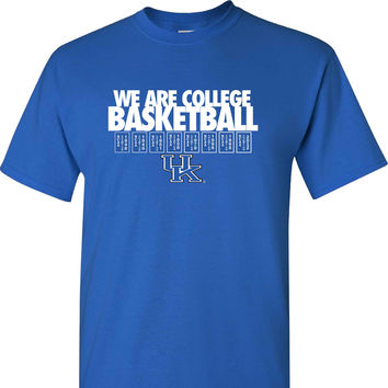 UK We Are College Basketball on a Blue Short Sleeve Shirt