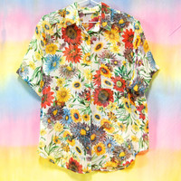 90s Vintage Sheer Floral Shirt Gazania Retro Hippie Kawaii Button Up Top Blouse Vtg 1990s Size M-L