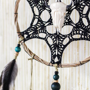 "Dream catcher with black doily 6"", crochet boho wall decor with handmade lace, skull decor, black and white hanging, unique gift ideas"