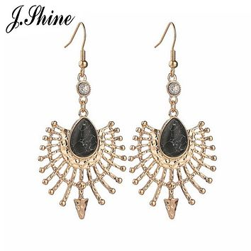 JShine Unique Hollow Boho Style Long Vintage Black Pink Synthetic Stone Crystal Drop Big Earrings for Women Party Accessory