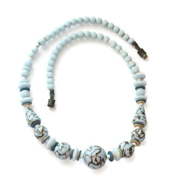 Blue Aventurine Trail Bead Necklace Art Deco Czech  1930s Vintage Necklace